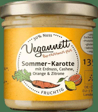 Bio Aufstrich Sommerkarotte mit Orange, Zitrone, Erdnuss und Cashew von Vegannett