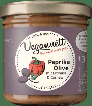 Bio Paprika Oliven Aufstrich mit Cashew- und Erdnussmus von Vegannett