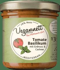 Bio Tomate-Basilikum Aufstrich mit Cashew- und Erdnussmus von Vegannett