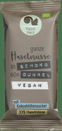 Veganer Bio-Schokoriegel dunkel 60% (8er-Box) von HaselHerz