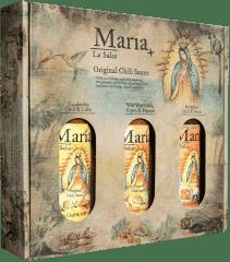 Geschenkset mit 3 großen Flaschen Chili Sauce von María La Salsa