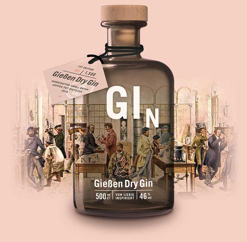 Gießen Dry Gin mit Illustration von Gießen Spirits
