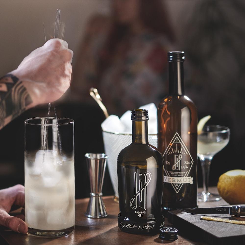 Hoos London Gin mit Cocktail Glas und Wermut