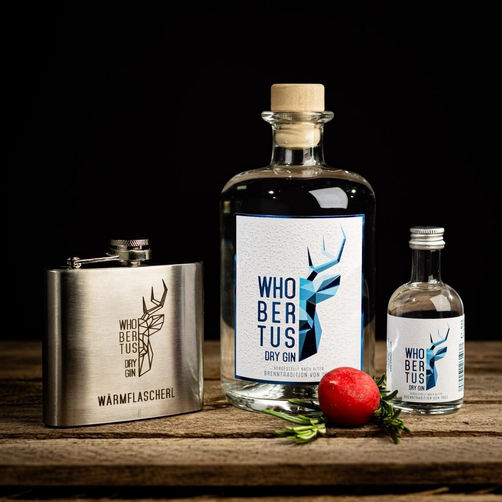 Whobertus Gin Flasche in Groß und Klein