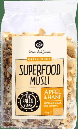 Bio Superfood Müsli Apfel & Hanf 375g von March & June