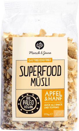 Bio Superfood Müsli glutenfrei Apfel & Hanf