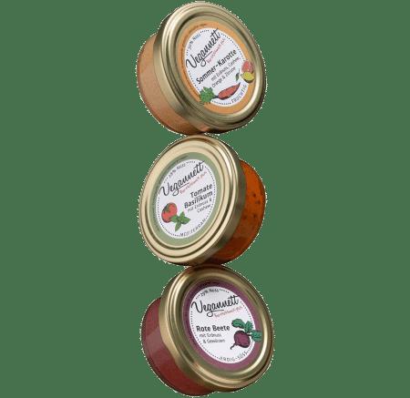 Geschenkpackung Vegannett mit 3 verschiedenen Bio-Aufstrichen von Vegannett