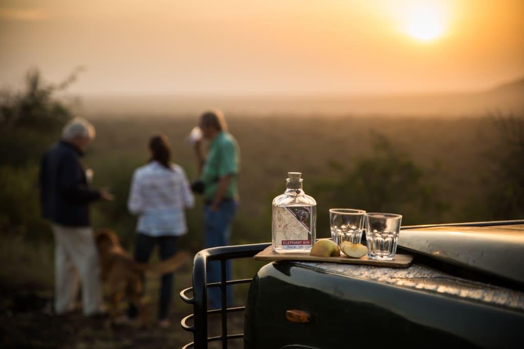Elephant Gin auf Autohaube vor Landschaft mit Sonnenuntergang