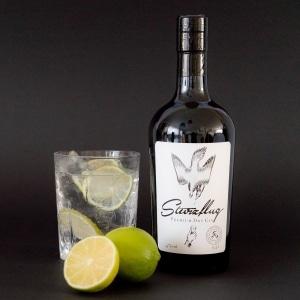 Flasche Sturzflug Premium Dry Gin mit Glas und Zitronen