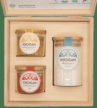 Geschenkbox Meersalz, Chili & Curry Zitrone Bio
