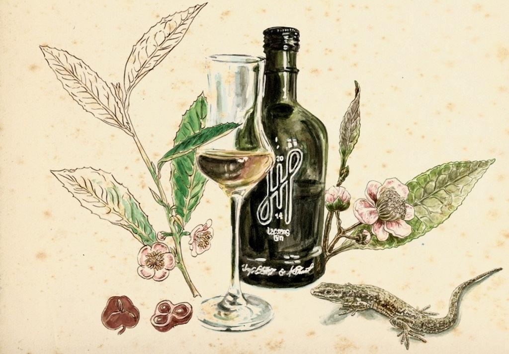 Zeichnung mit Hoos London Gin, Glas, Blätter und Blüten