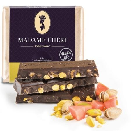 Zartbitter-Schokolade mit Guave & Pistazienkernen