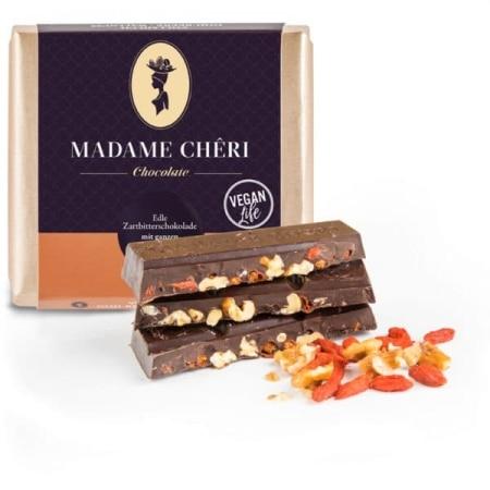 Zartbitter-Schokolade mit Goji-Beeren & Walnüssen von Madame-Cheri