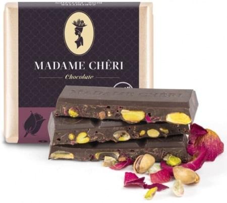 Zartbitter-Schokolade mit Rose & Pistazienkernen von Madame-Cheri