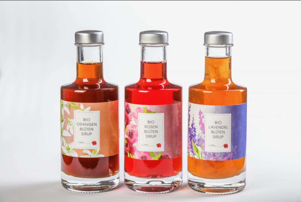 Orangen, Rosen- und Lavendel Sirup von der Manufaktur von Blythen